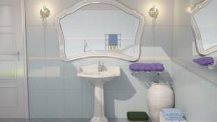 Waschbecken und Spiegel mit zwei Seitenleuchten