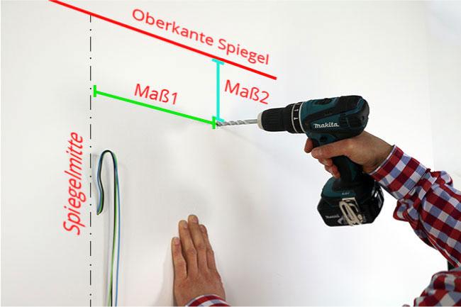 Maße anzeichnen und Wand für die Montage der Haken vorbereiten