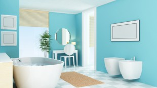 Badezimmer in weiß und tuerkis