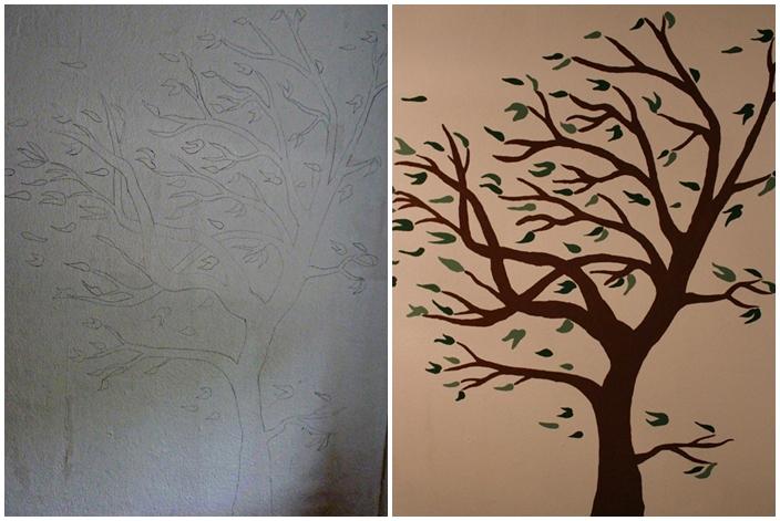 Bleistiftskizze und wandtattoo eines Baums